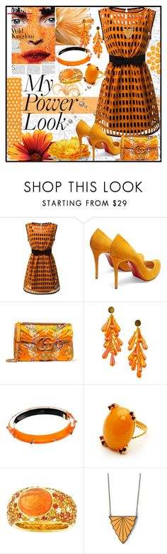 """""""My Power Look"""" by jeneric2015 ❤ liked on Polyvore featuring Moschino, Christian Louboutin, Gucci, Alexis Bittar and MyPowerLook"""
