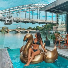 The makeover your pool has been waiting for. Inflate your summer and take it to luxe level - climb aboard the Gold Swan Luxe Ride-On Float. Sunnylife, Paradise Found, Rest Of The World, Holiday Destinations, Backyard, Australia, Beach, Outdoor Decor, Patio