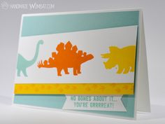 Three Dinosaurs - No Bones About It Stamp Set - Bright Kids Greeting Card using Soft Sky, Daffodil Delight and Tangerine Tango - Stampin' Up! Demonstrator Sarah Chilby