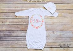 Are you looking for the perfect baby shower gift or personalized baby gown? This adorable gown makes the perfect addition to your little ones wardrobe or special gift for someone else- am I right? Instructions: In notes to seller upon checkout please indicate the first name for the