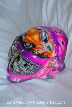 The General Lee  and Jessica Rabbit Goalie Mask - Airbrushing by Cam Wilson www.hockeyartist.com