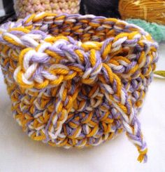 Crocheted Tri-Color Basket by tracyleeilg1318 on Etsy