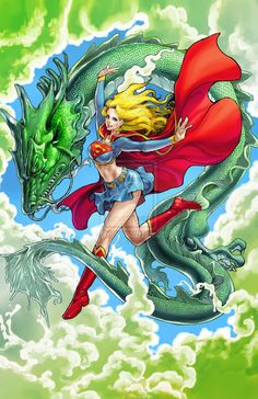 Super Girl and Dragon - Color by ~daxiong on deviantART