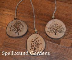 Handmade Rustic Wood Burn Tree of Life Wood Slice Christmas Tree Ornament Set/3 #Handmade