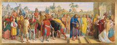 Julius Schnorr von Carolsfeld (26 March 1794 – 24 May 1872) Aus dem Nibelungenlied. Etzels Boten bringen die Nachricht von Rüdigers Tod nach Bechelaren, 1865, Museum Georg Schäfer, Schweinfurt