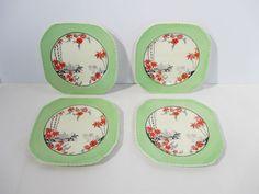 Plates Taj Mahal Vintage China Square Dessert Made England Green Border Set  4