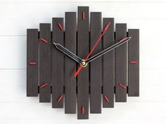 Customized Gift Wall Clock, Personalized Family Name Laser Engraved, Minimalist Round Wood Clock Handcrafted Large Wall Clock Romb I bicolor red contemporary wall clock silent by Paladim
