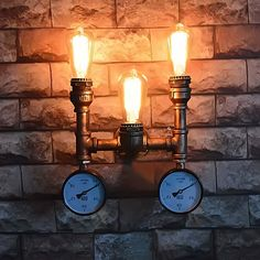 Retro Painted Iron Waterpipe Wall Lamp 3*bulb Lighting Vintage E27 Water Pipe Wall Light Sconce with 2 PCS PSI Pressure Gauge