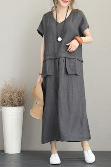 Vintage Loose Maxi Dresses Women Linen Clothes Fabric: Fabric has no stretchSeason: SummerType: Dress Sleeve Length: Short Color: Gray,Red Material: LinenDresses Length: Maxi Style: Casual Neck Type: V neck Silhouette: Loose One Size // Nikola Sen Women's Fashion Dresses, Casual Dresses, Maxi Dresses, Maxi Skirts, Fashion Clothes, Womens Linen Clothing, Diy Clothes, Clothes For Women, Short Beach Dresses