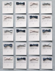 How fun are these mini bow tie escort cards?