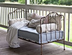 Matress Ticking Fabric for antique crib. Antique Daybed, Antique Crib, Antique Iron Beds, Antique House, Antique Decor, French Decor, French Country Decorating, Banco Exterior, French Daybed