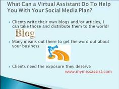 Virtual Assistant Services and Social Media.  Video is from 2010 when My Miss Assist was a Virtual Assistance Company.
