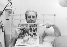 British actor Peter Sellers and The Sun headline speculating about his current period of hospitalisation in March 1977 via reddit
