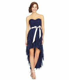 Available at Dillards.com #Dillards I like! Remind me of hermiones dress from Harry Potter and Goblet of Fire, except strapless and blue! And high lowwwww