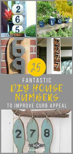 Add character to your front door with our 25 fantastic DIY house numbers idea list, guaranteed to improve curb appeal. From painted planters to industrial chic signs, we've got one for every personality. Diy Industrial Interior, Industrial Interior Design, Industrial Chic, Diy Projects For Kids, Diy Pallet Projects, Project Ideas, Front Door Numbers, Diy House Numbers, Wooden Front Doors