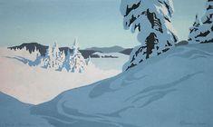 ✨ Oscar Droege (1898-1983) - Eingeschneite Tannengruppe in der Sonne, 21 x 35 cm, Farb-Holzschnitt ::: Snowy Fir Tree Group in the Sun, Colour Woodcut