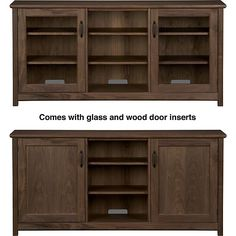 """Ainsworth Walnut 64"""" Media Console with Wood/Glass Doors in Media Stands, Consoles 