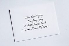 Traditional custom-made calligraphy wedding invitation envelopes. Perfect for a classic, elegant wedding. I will happily customize your design to suit your special day! Please message me for more details or e-mail me raquel@raquelwrites.com. •• PRICING •• Outer envelope -- $2.50 Inner envelope -- $2.00 Return address -- $1.00 + price of envelopes I believe in working closely with all of my customers to make sure that everything is exactly how they like it. There will be open, efficient...