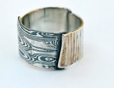 Sterling and Mokume Gane Textured Ring by phrynemetal on Etsy, $60.00
