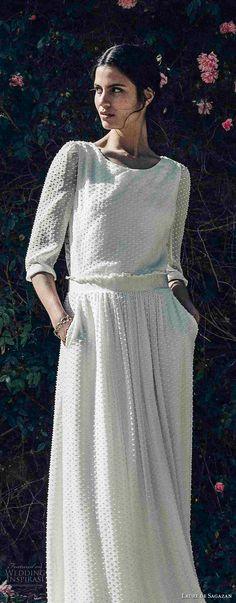 laure de sagazan 2017 bridal three quarter sleeves jewel neckline full embellishment beaded bohemian column wedding dress keyhole back (baudelaire) mv -- Laure de Sagazan 2017 Wedding Dresses