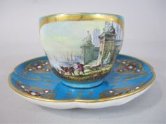 19TH CENTURY JEWELLED SEVRES CUP & SAUCER