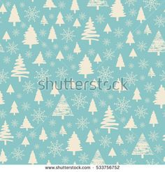 Holiday pattern Christmas decoration. Forest on a blue background. Snow in the woods. White trees and spruce. Vector illustration.