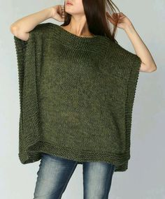 Hand knitted Poncho/ capelet eco cotton poncho in Fall green -ready to ship - Lucile Maes - - -Poncho tejido a mano / capeletHand knit Tunic sweater grey eco cotton woman sweater by MaxMelodyKnitting Patterns Poncho New design for this fall / winter! Poncho Knitting Patterns, Knitted Poncho, Loom Knitting, Crochet Shawl, Knit Patterns, Hand Knitting, Knit Crochet, Crochet Pattern, Sweaters Knitted