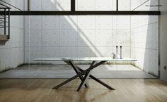 Tavolo da pranzo da salotto rettangolare in cristallo design SHANGAI - RIFLESSI