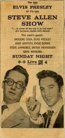 This ad is interesting in that the photo of Elvis had to have come from the RCA New York office. It is from Memphis on November 21, 1955, the day a bunch of New York RCA executives came to Hotel Peabody for Elvis' official sign-over to RCA. In the example above, Elvis was actually pictured with Hank Snow, who was soon to realize he'd been bamboozled by Tom Parker. /FECC forum