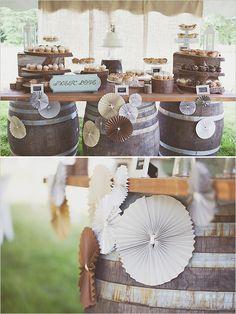 wine barrels used to create dessert table Diy Wedding, Rustic Wedding, Dream Wedding, Wedding Ideas, Wedding Desserts, Wedding Decorations, Wedding Cakes, Dessert Buffet, Dessert Tables