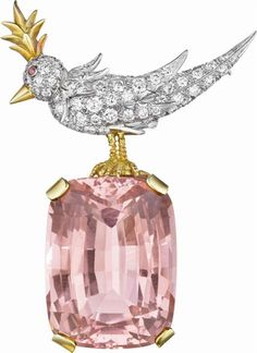 SCHLUMBERGER FOR TIFFANY & CO.  A Kunzite, Diamond, and Ruby 'Bird on a Rock' Brooch