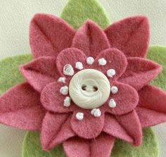 Pink Felt Flower Pin with White Vintage Button and French Knots