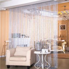 Nice 2.9x2.9m Shiny Tassel Flash Silver Line String Curtain Window Door Divider  Sheer Curtains