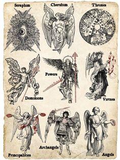 Angel Hierarchy, Arte Dark Souls, Esoteric Art, Esoteric Tattoo, Satanic Art, Arte Obscura, Occult Art, Occult Symbols, Masonic Symbols