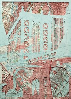 Emma Johnson - Manhattan Bridge (DUMBO) - courtesy of TAG Fine Arts textilessketchbook A Level Art Sketchbook, Textiles Sketchbook, Map Collage, Mixed Media Collage, Architecture Sketchbook, Art And Architecture, Nikon D7000, Mixed Media Photography, Creative Photography