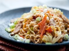 Yakisoba - 3/6/14 - I made with ramen noodles (no spice packet), ground turkey, ginger soy sauce, and no ketchup.
