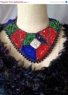 ON SALE Bead Embroidered Collar Kaleidoscope for by bjswearableart, $180.00