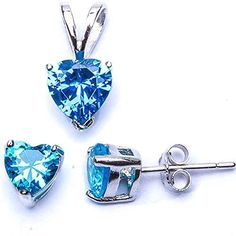 Blue Created Topaz Heart Pendant  Earrings Set 925 Sterling Silver *** Want additional info? Click on the image.(This is an Amazon affiliate link and I receive a commission for the sales)