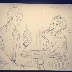 Nina and chris date~modern AU_art by @hisuwi0809 twitter