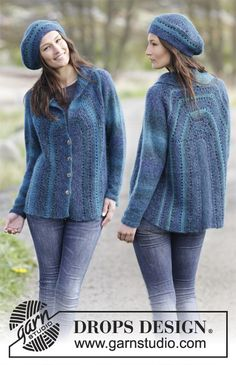"Blue Danube - Set consists of: Knitted DROPS jacket and hat in garter st with eyelet rows in ""Delight"" and ""Kid-Silk"". - Free pattern by DROPS Design Knitted Coat Pattern, Crochet Coat, Crochet Jacket, Sweater Knitting Patterns, Knit Jacket, Crochet Cardigan, Knitting Designs, Crochet Clothes, Free Knitting"