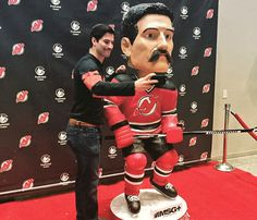 """""""You're not going to get a life-size bobblehead and NOT take a selfie with it! New Jersey Devils, Get A Life, Bobble Head, Hockey, Christmas Sweaters, Take That, Selfie, Instagram Posts, Field Hockey"""