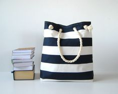 Sailor Tote Bag - dark blue and white bold striped from • Handmade Bags & Purses & Totes for Women & Men by DaWanda.com