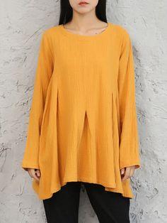 Pure Color Irregular Women T-shirts