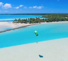 OK who has a #kitephoto that is bluer than this? Cook Islands #kitesurfing #kitetravel - ActionTripGuru.com