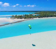 OK who has a #kitephoto that is bluer than this? Cook Islands #kitesurfing #kitetravel - ActionTripGuru.com