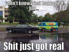 It's amazing what you can learn from reading comments. This picture was taken in Baton Rouge, Louisiana during the flooding of August 2016. There are a few car enthusiasts living in the area. The guy who played the Scooby-Doo voice, Scott Ennis, lives there, and the van was something that was done for a charity. I've never watched Supernatural, but I got the joke from this comment: I just imagined Sam and Dean AND Scooby and Shaggy looking at each other and going WTF!