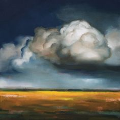 original blue and grey storm cloud painting in oil by Luckyhemlock, $525.00