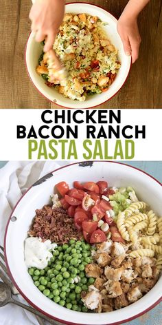 Chicken Bacon Ranch Pasta Salad is our favorite pasta salad recipe that comes together in about 20 minutes, and the whole family loves it. Hosting a barbecue soon? You& found the perfect side salad! Side Salad Recipes, Chicken Salad Recipes, Healthy Salad Recipes, Pasta Recipes, Cooking Recipes, Meal Recipes, Salad Chicken, Delicious Recipes, No Oven Recipes