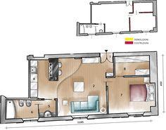 Il piccolo appartamento cittadino di circa 50 mq, in origine costituito da un unico ambiente, è stato ridistribuito in modo da ricavare una camera da letto separata con cabina armadio. Gli spazi risultano valorizzati anche dalle scelte di colori e materiali, per un effetto giovane, contemporaneo e ben equilibrato.