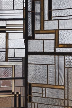 Detail of a 1930 screen made of glass, iron, lead and Bakelite by Louis Barillet and Jacques Le Chavallier (NYT)